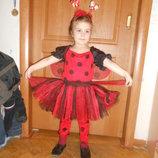 Карнавальный новогодний костюм Божья коровка Светлячок на возраст 4-8 лет Прокат