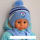 Зимняя шапочка для мальчиков 1-2,5 лет р. 45-49 .Сбор заказа Заказ Каждый Понидельник