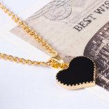 Стильная подвеска в виде сердца, черного цвета