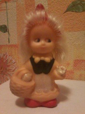 Кукла СССР резиновая Красная Шапочка 17 см, клеймо