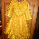 Платье нарядное желтого цвета на возраст 6-8 лет