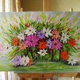 картина маслом Феєрія квітів 50х100