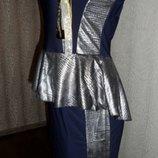 Стильное, шикарное летнее платье с баской М 46-й Новое На Новый год.