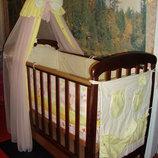 Кроватка детская соня лд-1 цвет-орех тм верес ,матрац,постельное белье, балдахин.