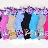 Махровые носки женские с бантиками и с узором
