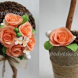 Топиарий кофейный с розами, кофейное дерево - декор, подарок, статуэтка