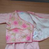 комплект для маленьких 62-68 штанишки кофточка распашонка розовая