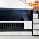 Детская двухъярусная кровать-трансформер с ящиками, пеленальным комодом и лестницей-комодом ал15 M