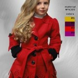 Детское красивое пальтишко Аленка рост 128,134,140 в сером цвете