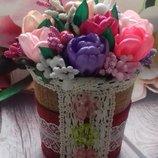 Цветы из ткани - подарок на 8 Марта