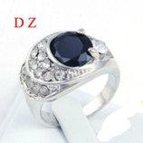 Крупное кольцо белая позолота 18 К