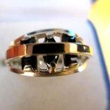 Изящное кольцо, серебро. золото, цирконии