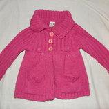 Шерстяное вязанное демисезонное пальто - кардиган для девочки от 1 года