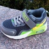 Новинка Модные и стильные кроссовки для мальчика р-р 21-13,5см и 22-14,3 см серые