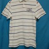 Рубашка поло белая в полоску CAT CATERPILLAR 'Marine' 44-46р