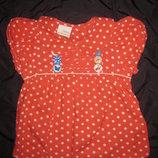 красивая красная летнняя блузка в горошек на 1-2 года