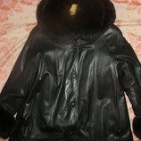 кожаное пальто утепленное, р50-52