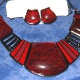Шикарный Набор-Авраамово ожерелье и серьги- Янтарь Тибетское серебро
