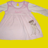 Теплое платье с Бємби,на 0-6 месяцев