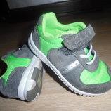 кроссовки кеды мокасины кожаные Clarks детские СТЕЛЬКА 14 см зеленые серые