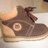 Замшевые ботинки 18-21 р Pat Et Ripaton на мальчика, весенние, осенние, кожаные, коричневые, шнурках