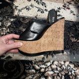 босоножки кожа пробка платформа шлепанцы Италия Glossi