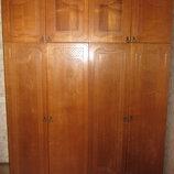 Винтажный шкаф для одежды, натуральное дерево, 4-х створчатый, идеал состояние