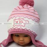 новая вналичии двойная шапка осень весна для девочки 1-2 года