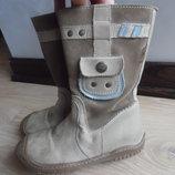 сапоги ботинки ДЕМИСЕЗОН детские кожаные 18 СМ новые бежевые высокие blue queen