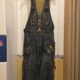 Новый супер-пупер эффектный джинсовый комбинезон размер 27