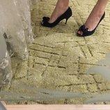 Черные Замшевые туфли,натуральная замша,замш босоножки 38 р. с открытым пальцем
