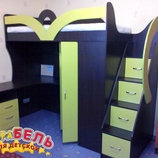 Детская кровать-чердак с рабочей зоной, угловым шкафом и лестницей-комодом кл22 Merabel
