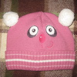 вессенне-осенняя шапка, панда для девочки 2-3-ёх лет