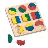 Деревянная головоломка пазл геометрические формы фигуры