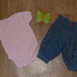Комплект. Мягкие джинсы и бодик для малышки на 0-3 месяца.
