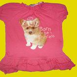 Яркая футболочка -туничка с собачкой,рост 86 см
