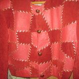 Женская яркая гламурная замшевая,кожаная куртка-ветровка-пиджак 100%Натур.кожа 100%натур.замша.M-L.