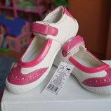 Туфли нарядные летние для девочки бело-розовые новые размер 25-32
