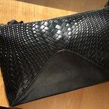 Богатый черный женский кожаный клатч в наличии