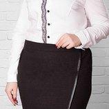 Теплая юбка комбинированная с кожей, размеры 50-60, цвета коричневый, черный