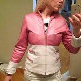 Курточка кожаная розовая с белым 44-48 Юбка кожаная. Куртка