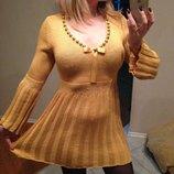 Платье горчичное с люриксом 44-48 трикотаж от Модельера.эксклюзив