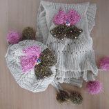 шапка шапочка шарф набор розовая БЕЖ 10-15 года новая флис бусинки бант