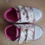 кроссовки кеди мокасины детские белые цветочный принт 13 см