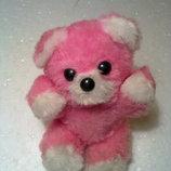 Розовый мишка 13 см, б/у