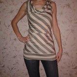 Маечка-Блузочка с люрексом, удлиненная, хлопок полиэстер, размер Хс, наш 40-42
