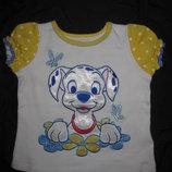 красивая яркая футболка Disney на 1-2 года, Далматинец