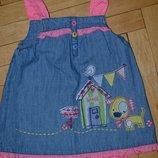 3 - 6 месяцев 8 кг некст Обалденное платье сарафан для малышки джинсовый