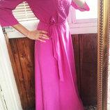 Платье в пол ярко-розовое, р-р 44