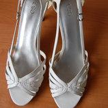босоножки на каблуке, Cato, белые, 40